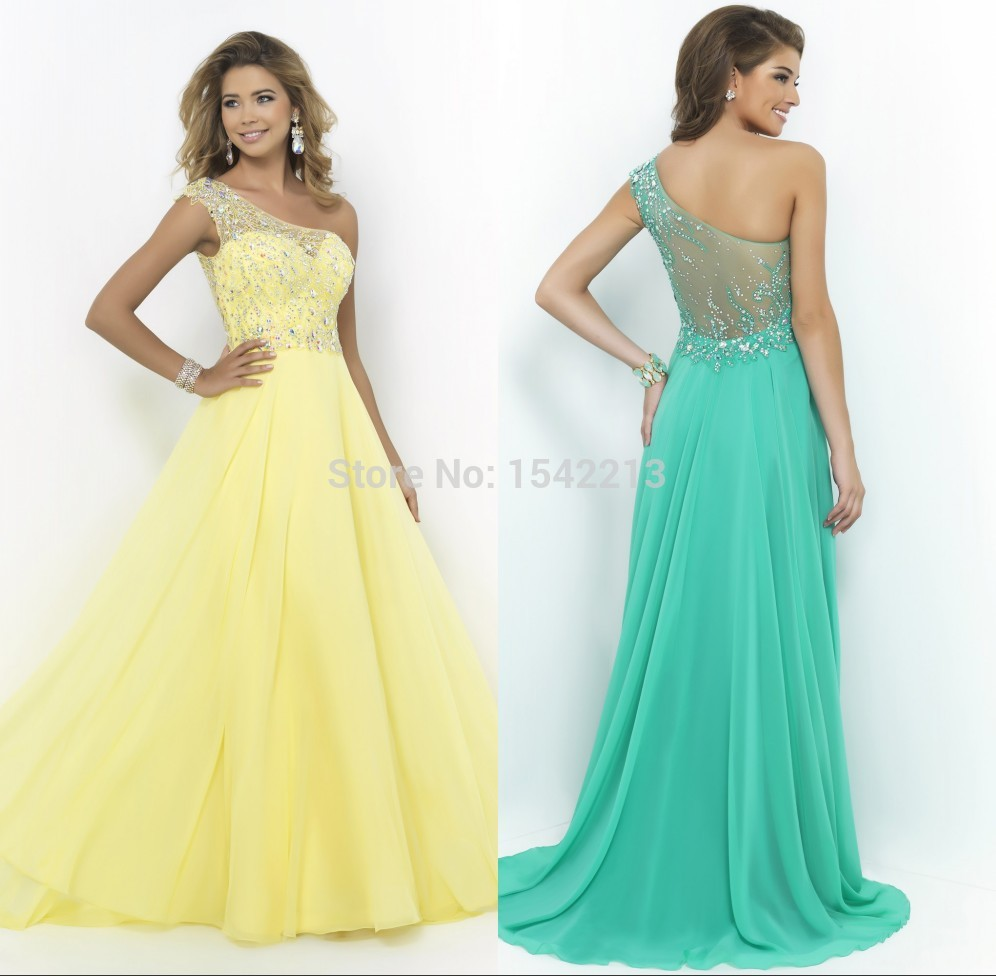 One Shoulder Yellow Prom Dresses See Thru | Dress images