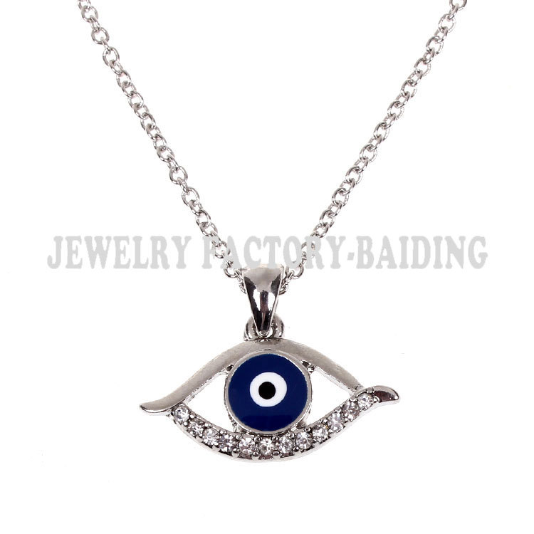 Fashion jewelry evil eye silver alloy necklace statement lucky women - Yiwu Baiding Trade Co., Ltd. store