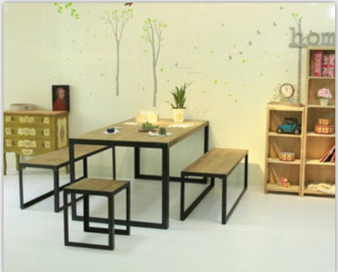 American retro wood tables, wrought iron casual computer desk minimalist retro rural countryside of the office furniture(China (Mainland))