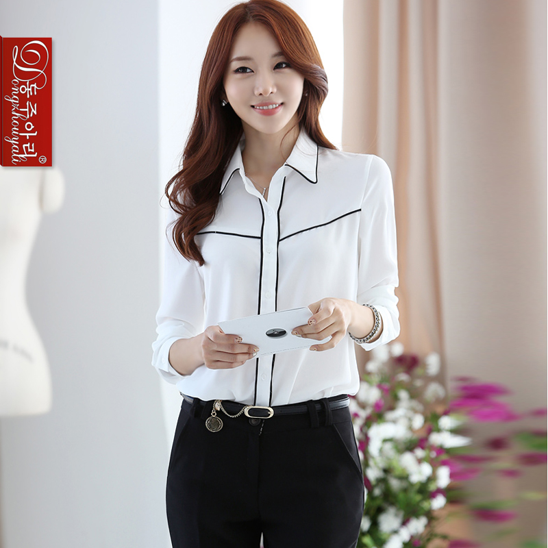 Spring autumn women's white shirts lady's long-sleeve plus size shirt slim elegant all-match formal Turn-down collar - Fashion and Romantic Store store