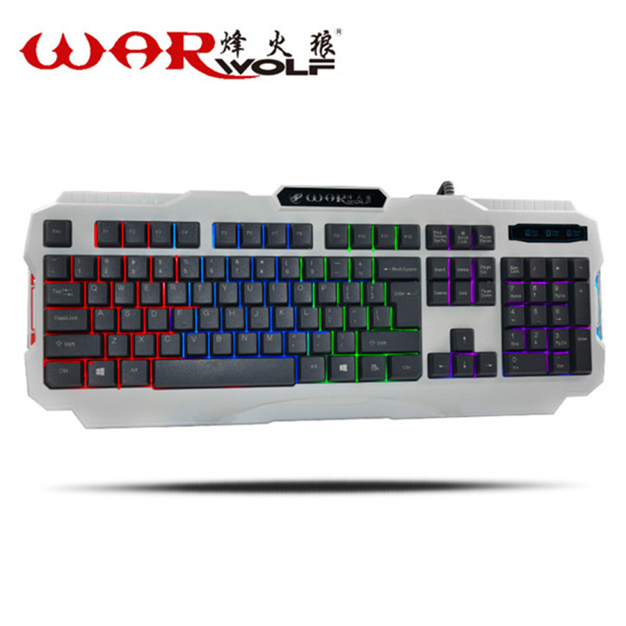 WarWolf K2 Wired USB Gaming keyboard Computer Black Gray Backlit Waterproof Keyboard Ergonomic Design teclado for Laptop Desktop(China (Mainland))
