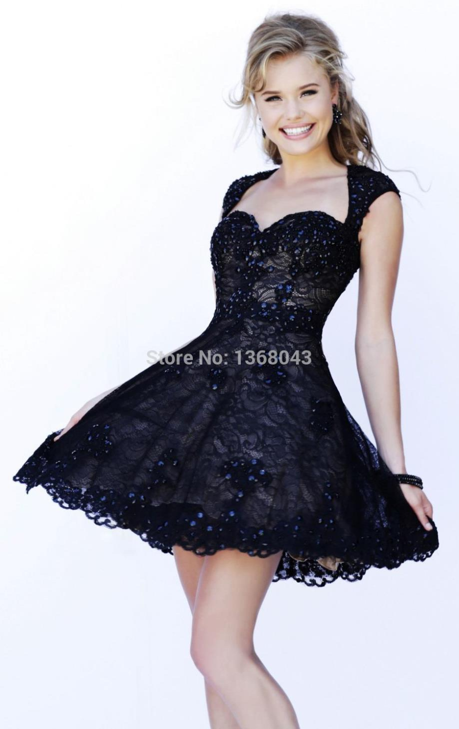 Short White Wedding Dress Black Lace : Beautiful white black sweetheart short sleeve a line