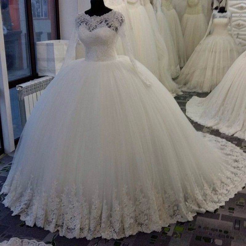Luxury ball gown wedding dresses long sleeve great design for Sparkly wedding dresses with sleeves