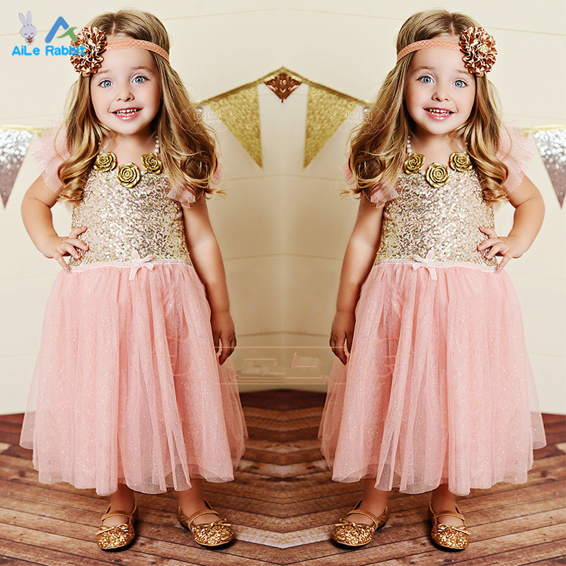Girls Baby Toddler Sleeveless Golden Sequined Tulle Party Dress Ball Gown Sparkling Polka Dots 3-7 Years - AiLe Rabbit official store