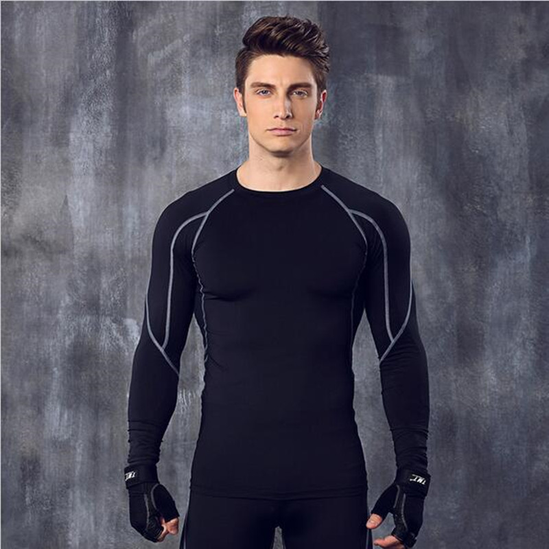 autumn men compression long sleeve shirt quick dry elastic fitness tights tee shirt homme. Black Bedroom Furniture Sets. Home Design Ideas