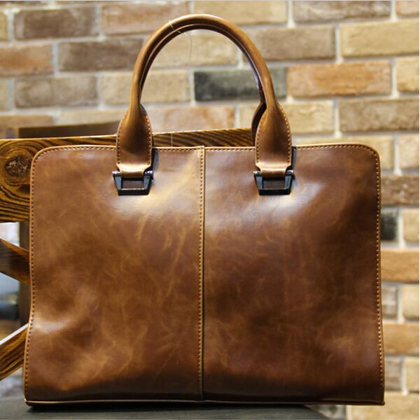 High-grade men genuine horse leather handbag bag briefcase file bag envelope purse handbags briefcases for men(China (Mainland))