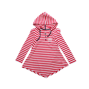 Kids Long Sleeve Tops for Girls Striped Hooded Tiered T-Shirt, Free Shipping A2941(China (Mainland))