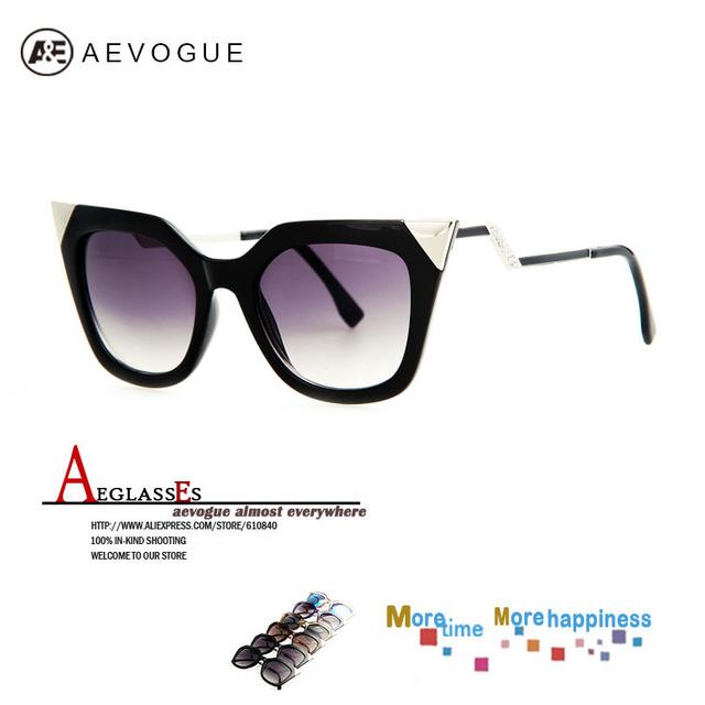Aevogue бесплатная доставка бренд кошка глаз храм солнцезащитные очки женщины горячая распродажа солнцезащитные очки горный хрусталь украшения UV400 AE0203