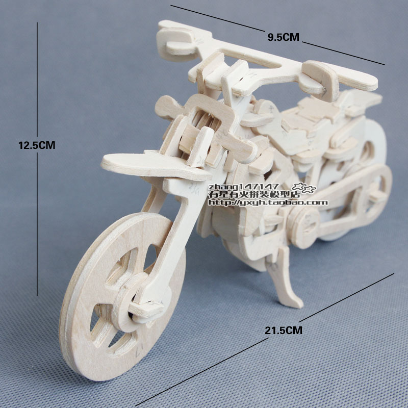 Child puzzle toy car assembled wooden model car diy handmade wood small motorcycle model off-road car(China (Mainland))