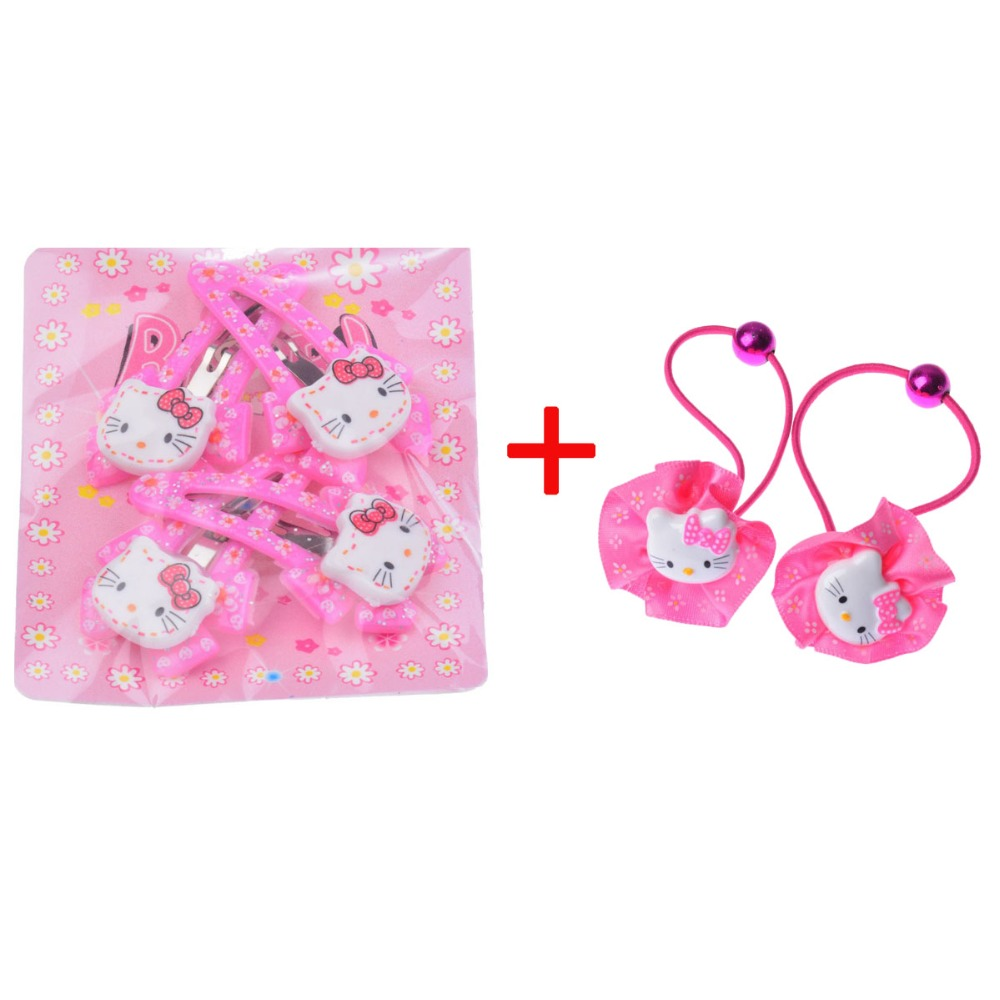 Four Pieces Hair Clips And Two Pieces Hairband Hello Kitty Baby Girl Hair accessories Headband Hair Clip Hairpin(China (Mainland))