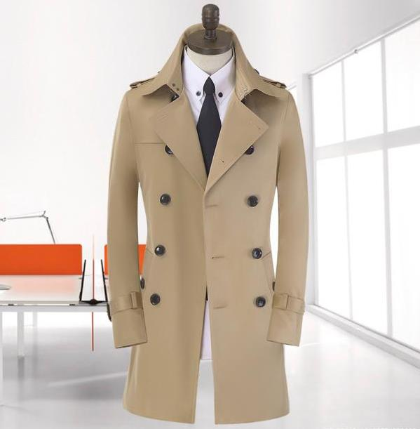 Blue khaki beige double breasted long black trench coat men british style pea cheap mens winter coats belt plus size 9XL - Fashion clothes store wang