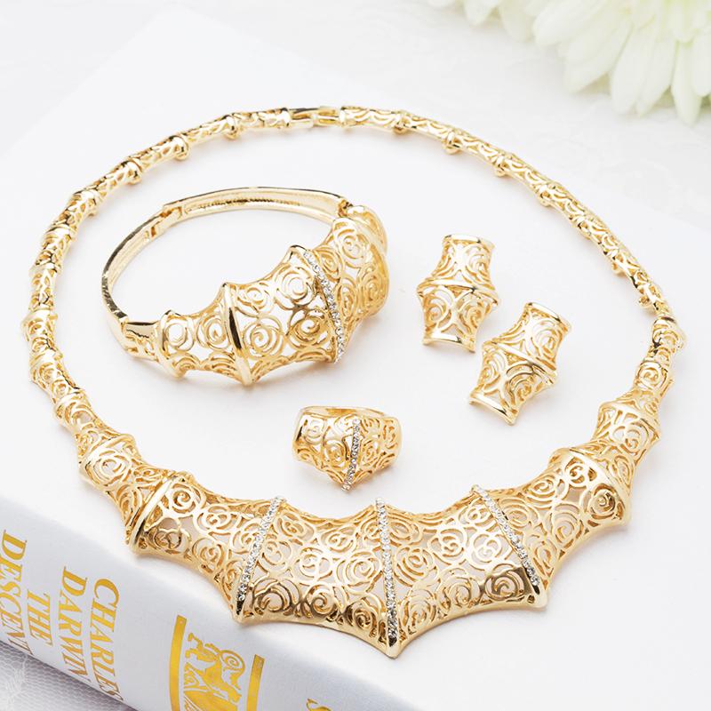 2015 jewellery Nigeria Wedding Bridal Jewelry Sets Retro Crystal 18k gold jewelry African Beads J070 - Verynice store