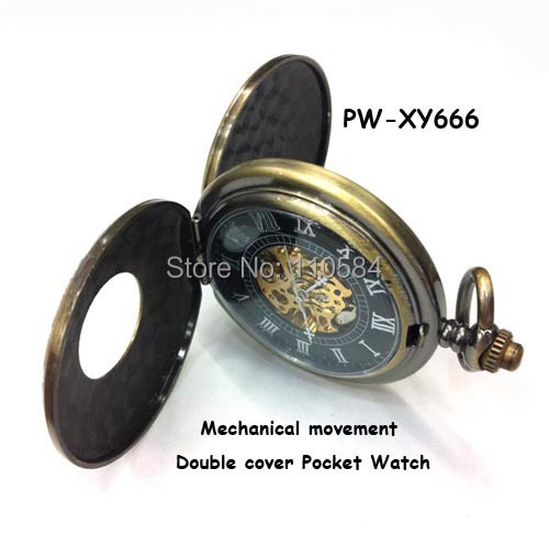 DOUBLE COVER Mechanical Hand Wind Necklace Watch Pocket watch 2014 new russia hunger games pocket bronze vintage cool - Yiwu Xiaoya Jewelry Firm store