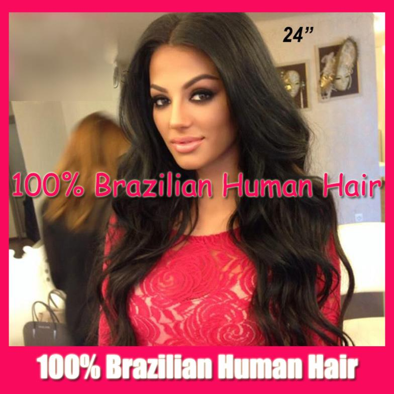 Middle Parting Natural Wave 100% Brazilian Virgin human real Hair Full Lace wig / Glueless Front Wigs Stock - Fashion Beauty Mall store