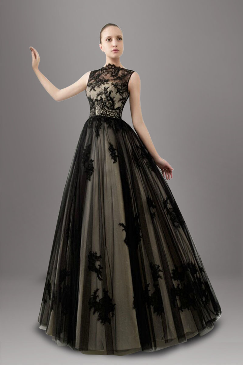 Stunning Non Traditional Wedding Dresses : Black two tones a line non white wedding dresses illusion