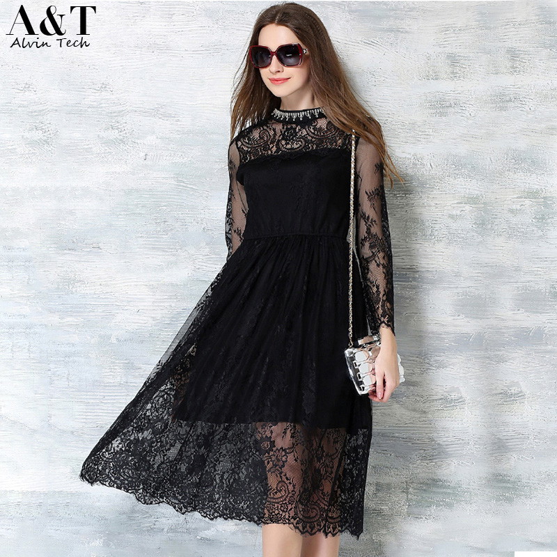 Women's Floral Lace Bridesmaid Midi Dress 2016 Summer Vintage Red Black Crochet See-through Diamonds Stand Neck Vestidos QSK190(China (Mainland))