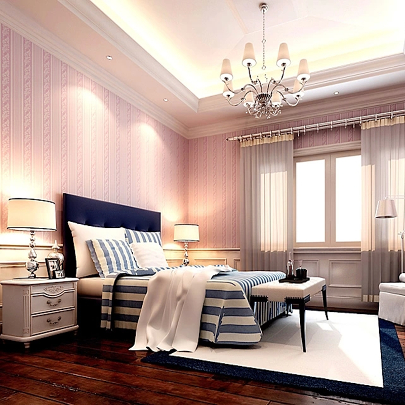 Buy home decoration pink color roman for Pink living room wallpaper