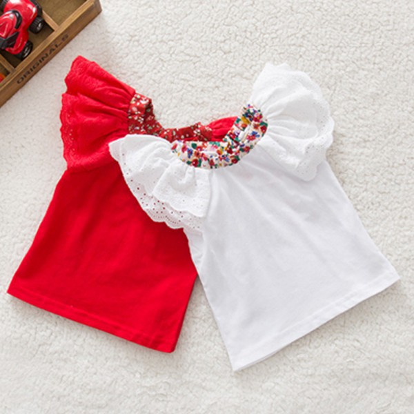 Summer Baby Girls Red/White Short Sleeve Tops Floral Collar Butterfly Sleeve T-shirts Blouse 0-2Y<br><br>Aliexpress