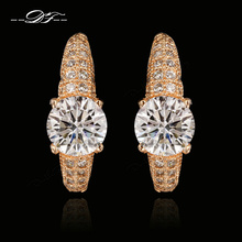 Double Fair CZ Diamond Stud Earrings 18K Rose Gold Plated/Silver Tone Vintage Ear Cuff Jewelry For Women Wholesale DFE560(China (Mainland))