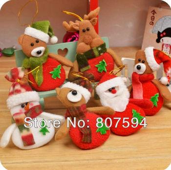 6pcs/lot Deer Snowman Pendant Chrismas Tree Christmas Gift Santa claus Christmas Decoration Supplies Arbol De Navidad S16