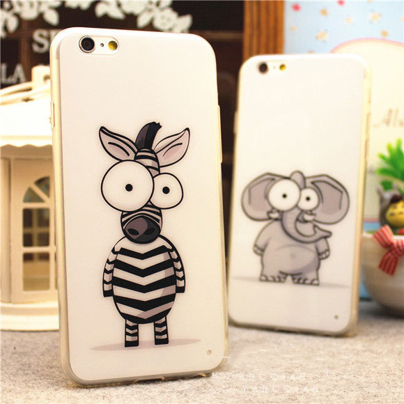 Luxury 0.3mm Ultra Thin Slim TPU Clear Transparent Soft Cover Case Skin Cartoon zebra Elephant iPhone 6 Plus 4.7 5.5 5s 5 - GLOBAL Mall TRADE(HK store CO., Ltd.)