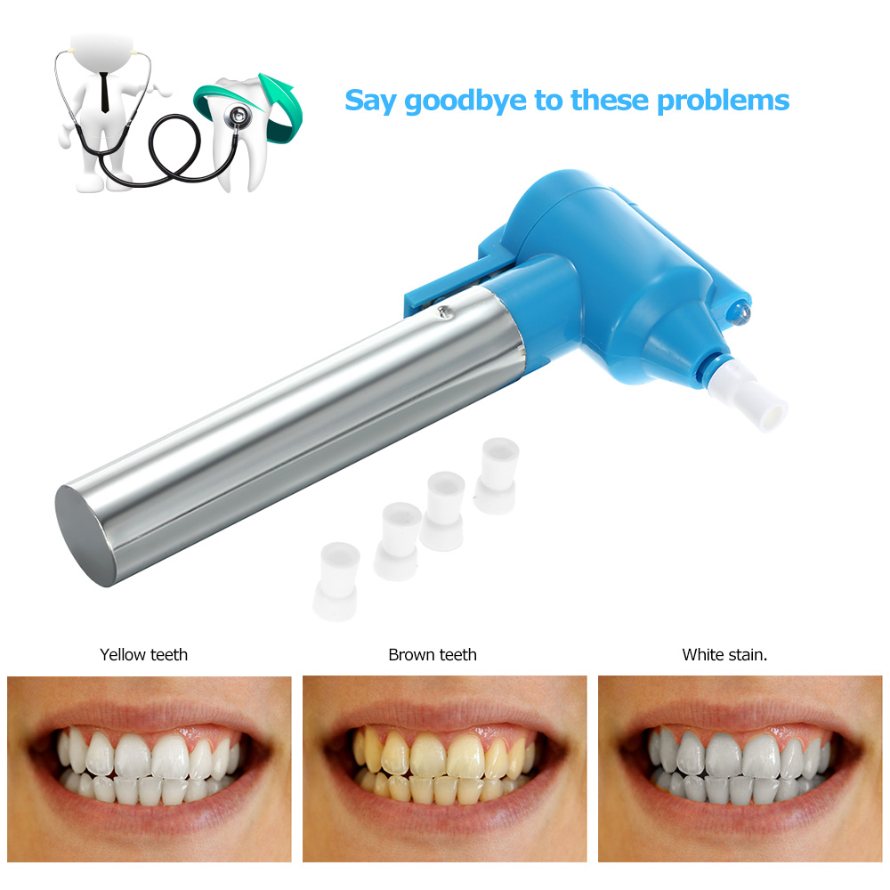 Pro Dental Care Tools Electric Polish Whiter Teeth Bleaching Cleaner Stain Remover Dentistry Whitening Pen with 5 Nozzles Blue(China (Mainland))