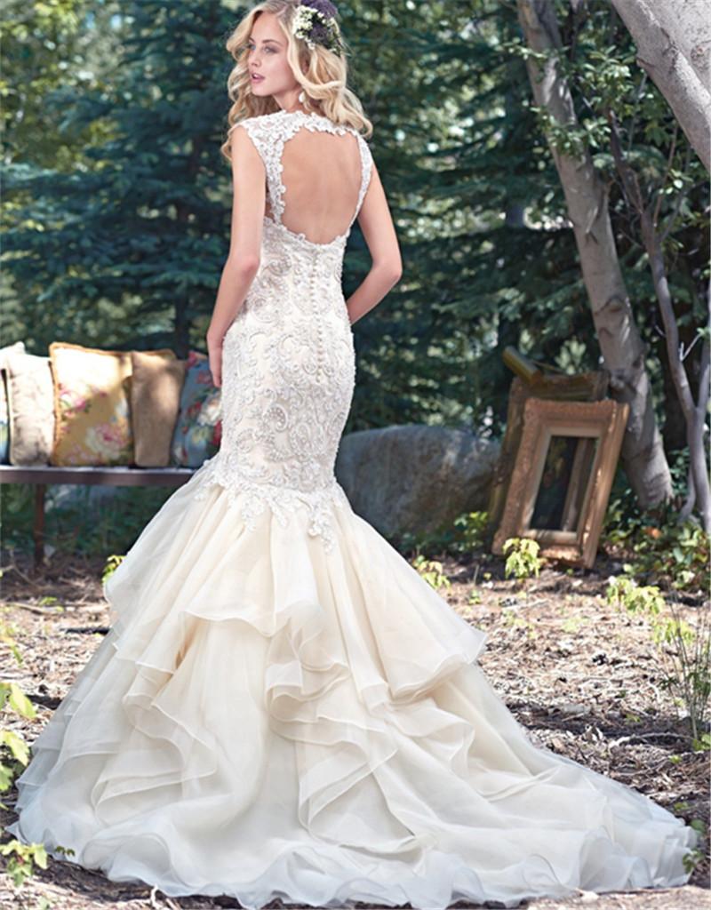 2016 Мода Рюшами Из Органзы Длинные Свадебные Платья Элегантный Милая С Плеча Спинки Свадебное Платье С Аппликациями