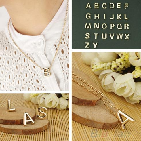 Fashion Women s Metal Alloy DIY Letter Name Initial Link Chain Charm Pendant Necklace 1V7V
