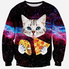 Alisister 2015 new fashion women/men 3d sweatshirt printed cat/pizza/tiger sweatshirts womens harajuku galaxy hoodies clothes(China (Mainland))