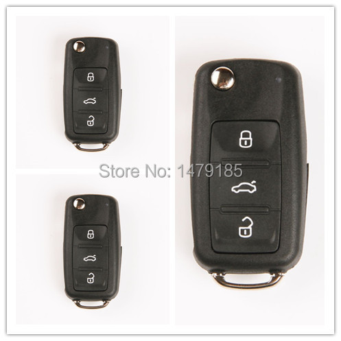 3 Buttons FOB Remote Keyless Entry Folding Flip KEY Case Shell Vw/Volkswagen Polo Transporter Beetle Jetta Passat Cc - Brothers Union rs store