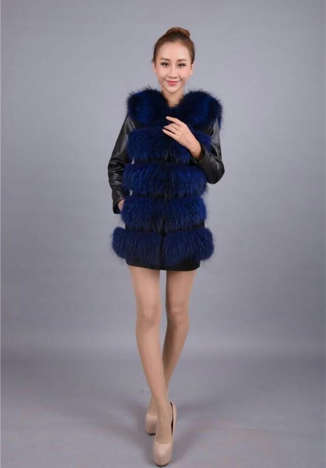 fashion Lady Raccoon Fur vest women's real fur and leather winter overcoat girl's warm outerwear Sheepskin sleeves Fur Vest coat