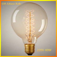Antique Retro Vintage Global G95  Bulb Retro E26/E27 220V E27 Incandescent Bulbs Filament Bulb Carbon Filament Bulbs(China (Mainland))