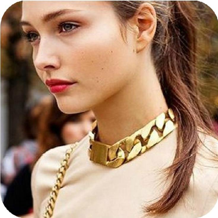 Fashion Gold Chain Bracelet Necklaces & Pendants exaggerated statement necklace jewelry accessories new(China (Mainland))