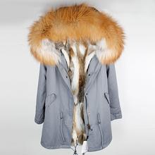 Mode femmes fourrure de lapin doublure à capuche long manteau parkas outwear armée vert grand raton laveur col de fourrure hiver veste DHL(China)
