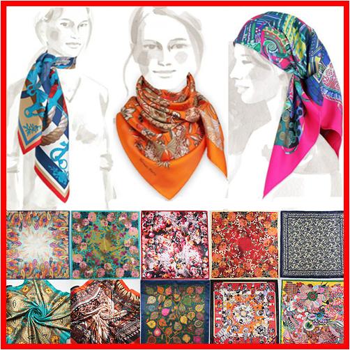 2015 Spring New Fashion Brand High Quality Big Size 90x90cm Women Imitated Silk Square Scarf 20 Designs Lowest Price(China (Mainland))