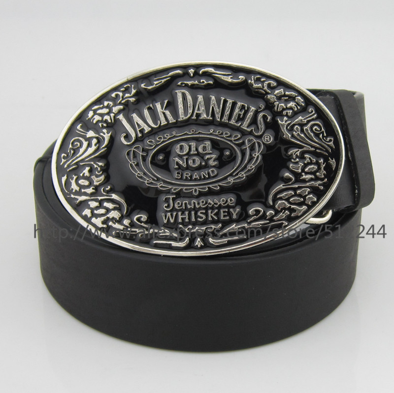 New Western Black Jack Daniels Whiskey Old No. 7 Men's Metal Belt Buckle with a Black PU Leather(China (Mainland))