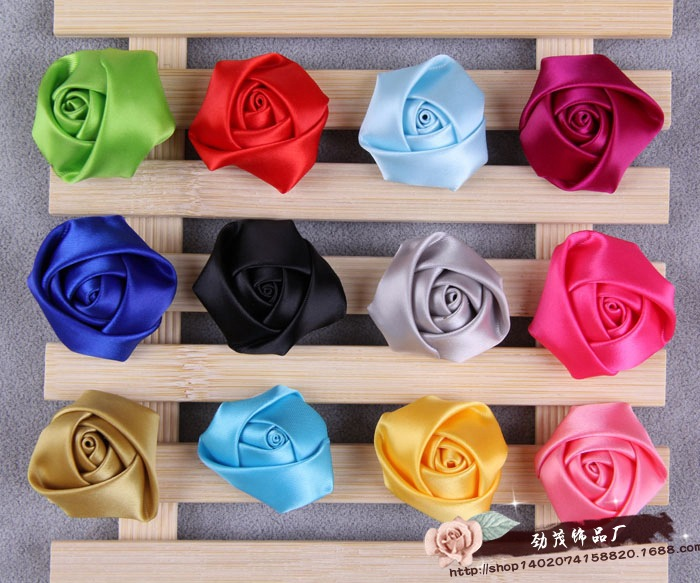 Fashion 40mm Satin Ribbon Rose Flower Bud Appliques DIY Bridal Fascinator Wedding Craft/brooch/doll/dress/sew Handmade Headwear(China (Mainland))