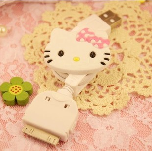 Free Shipping Kawaii Hello Kitty Data Cable Charger USB Charger for Iphone4/4s Retail KCS(China (Mainland))
