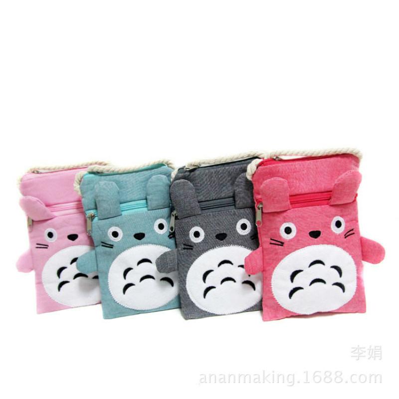Hot Cute Totoro Messenger bag Canvas Purse Chinchilla Double Pull Creative Cartoon Multi-purpose Mobile Phone Bag Ladies(China (Mainland))