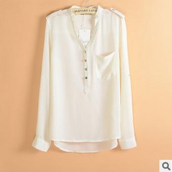 Women Clothes Epaulet V-neck Button Large Pockets Loose Chiffon Shirt Solid Printing Jute Linen Women Shirts Free Shipping(China (Mainland))