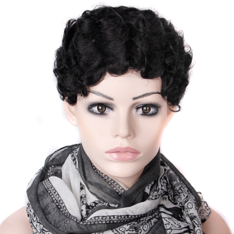 2016 Cheap Wig Women Lady'sCheap Short Black Curly Hair Wig + Wig Net Gift Heat Resistant Synthetic Hair wigs Free Shipping(China (Mainland))