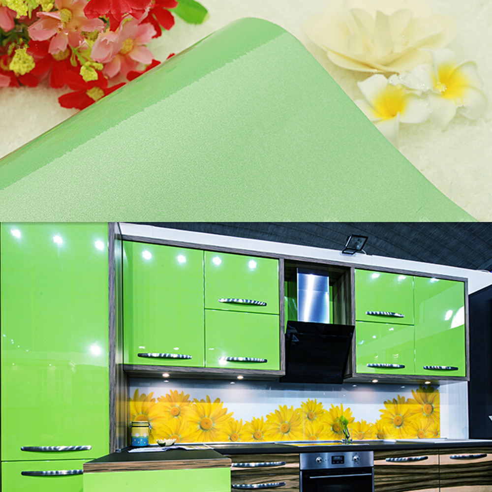 Yazi gloss green kitchen cupboard cover wall sticker mural decal pvc shelf liner stickers for 50cm kitchen cabinets