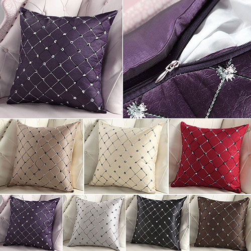 Home Sofa Bed Decor Multicolored Plaids Throw Square Cushion Cover 6V86