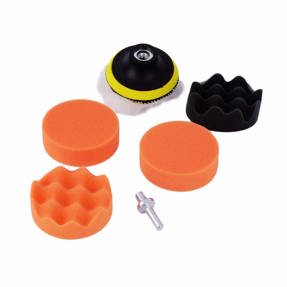 Free Shipping 7pcs/set 5 inch*125mm Buffing Pad Auto car wax wash Car Polishing sponge Wheel Kit With M14Drill Adapter Buffer(China (Mainland))