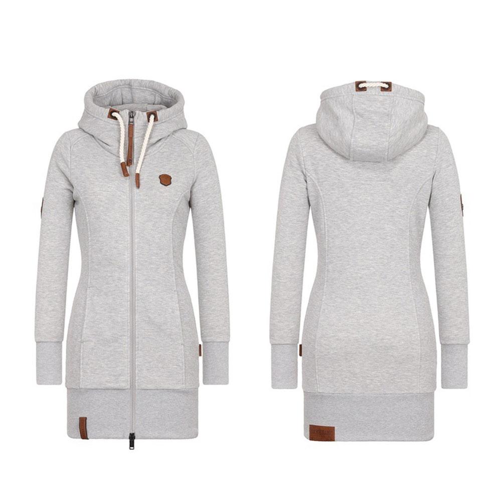 Теплые зимние Для женщин с длинным рукавом свитшот на молнии капюшоном куртка aeProduct.getSubject()
