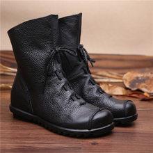 Prova perfetto 2019 Vintage Hakiki Deri Kadın Çizmeler Düz Patik Yumuşak Inek Derisi Kadın Ayakkabı Ön yarım çizmeler zapatos mujer(China)