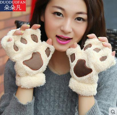 2016 Free Shipping Fluffy Bear/Cat Plush Paw/Claw Glove Novelty Halloween Soft Toweling Half Covered Women's Gloves Mittens(China (Mainland))