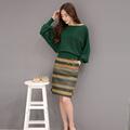 2016 Autumn New Fashion Bat Sleeve Solid Joker Sweater Stripe Cloth Bag Skirt Female Temperament Sets