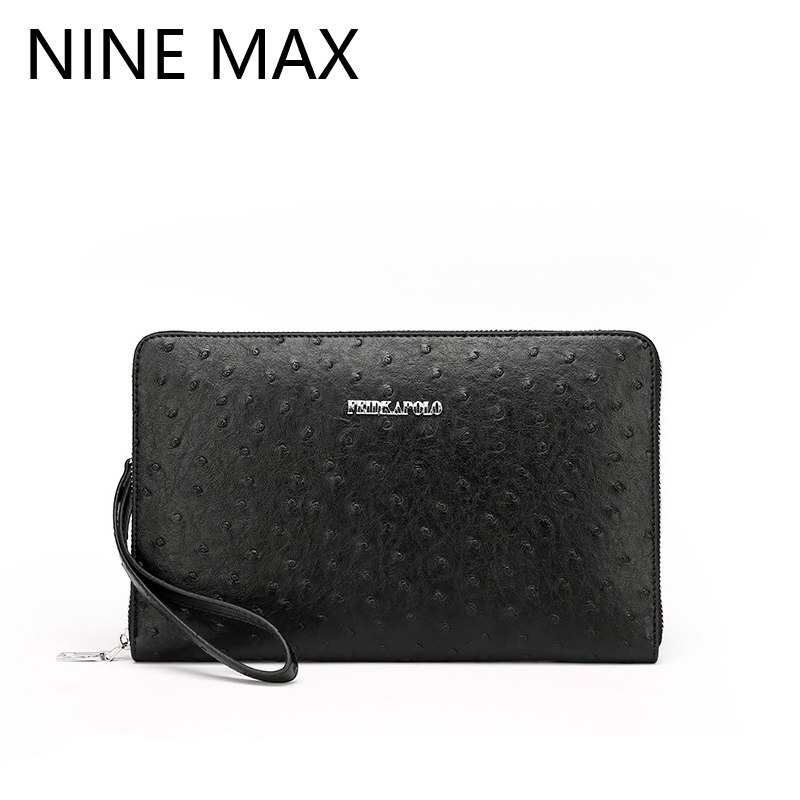 Polo High Quality Men Clutch Ostrich Grain Embossed Leather Handbag Zipper Multiple Usage Male Wallet Business Card Holder(China (Mainland))