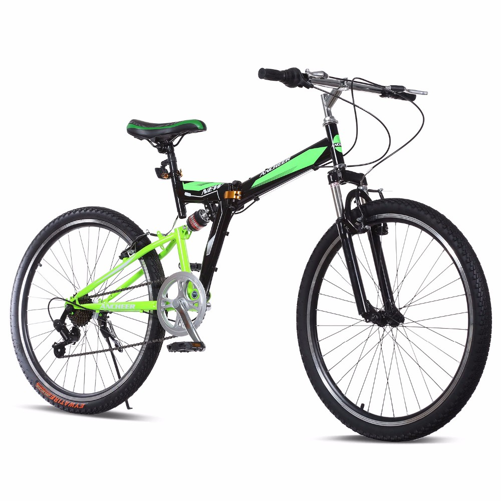 Brand New 26-Inch Wheels 7 Speed Folding Dual Suspension Mountain Bike Stainless Steel Bike Frame Steel V-Brakes MTB Bicicleta(China (Mainland))